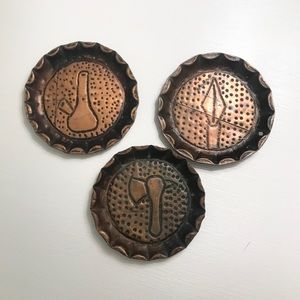 Three Vintage Copper Ashtrays Scalloped Edge